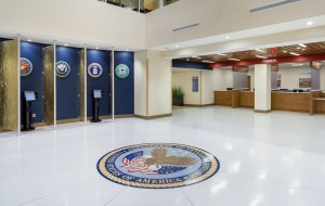 Main Lobby with Kiosks designed for easy check-in for veterans and improved wait times.